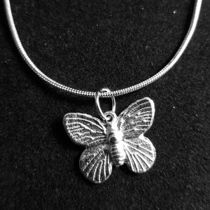 "Silver Butterfly. 925 Sterling Silver 20"" Chain"